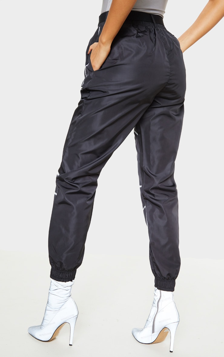 Black Contrast Stitch Belted Shell Jogger 4