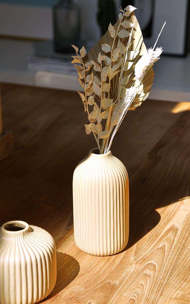 Stone Tall Ribbed Vase 1