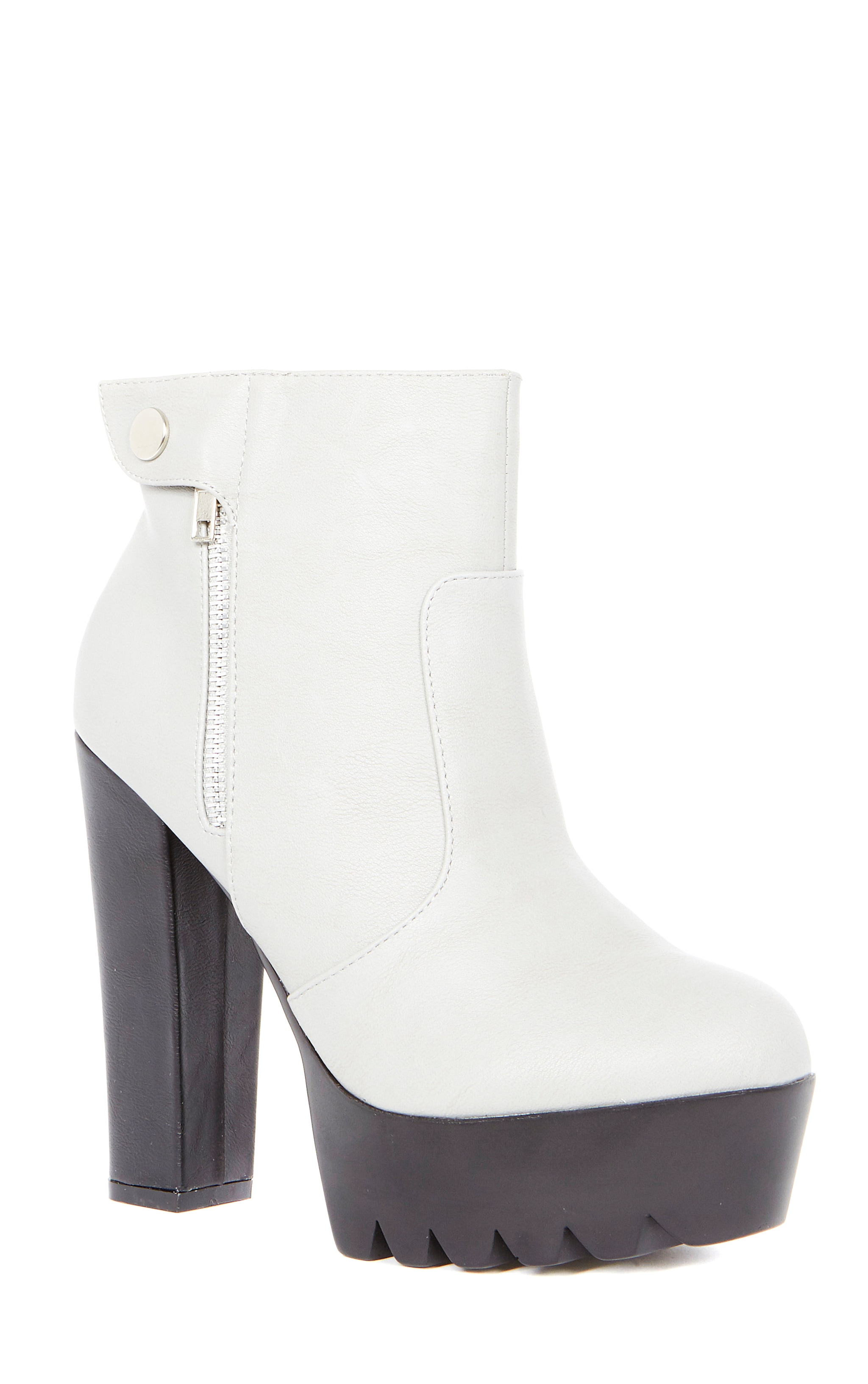 Liberty Grey Cleated Sole Zip Detail Boot  4
