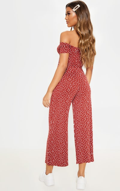 Rust Polka Dot Ruched Detail Bardot Wide Leg Jumpsuit