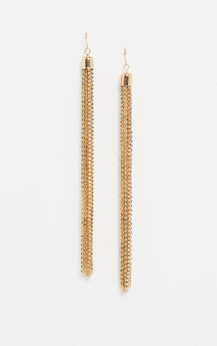 Gold Extra Long Tassel Chain Earrings 2