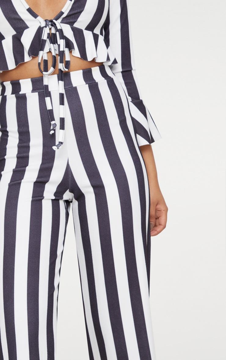 Petite Black Stretch Striped Wide Leg Trouser 5