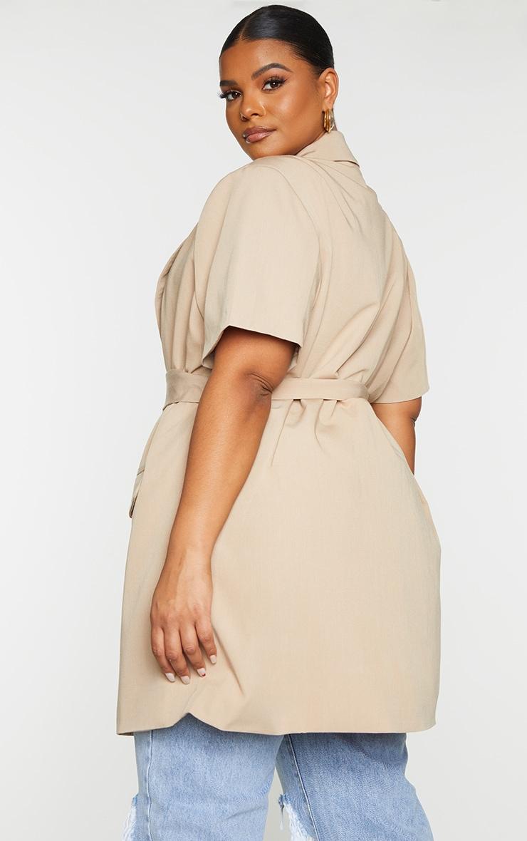 Plus Cream Woven Short Sleeve Longline Belted Blazer 2