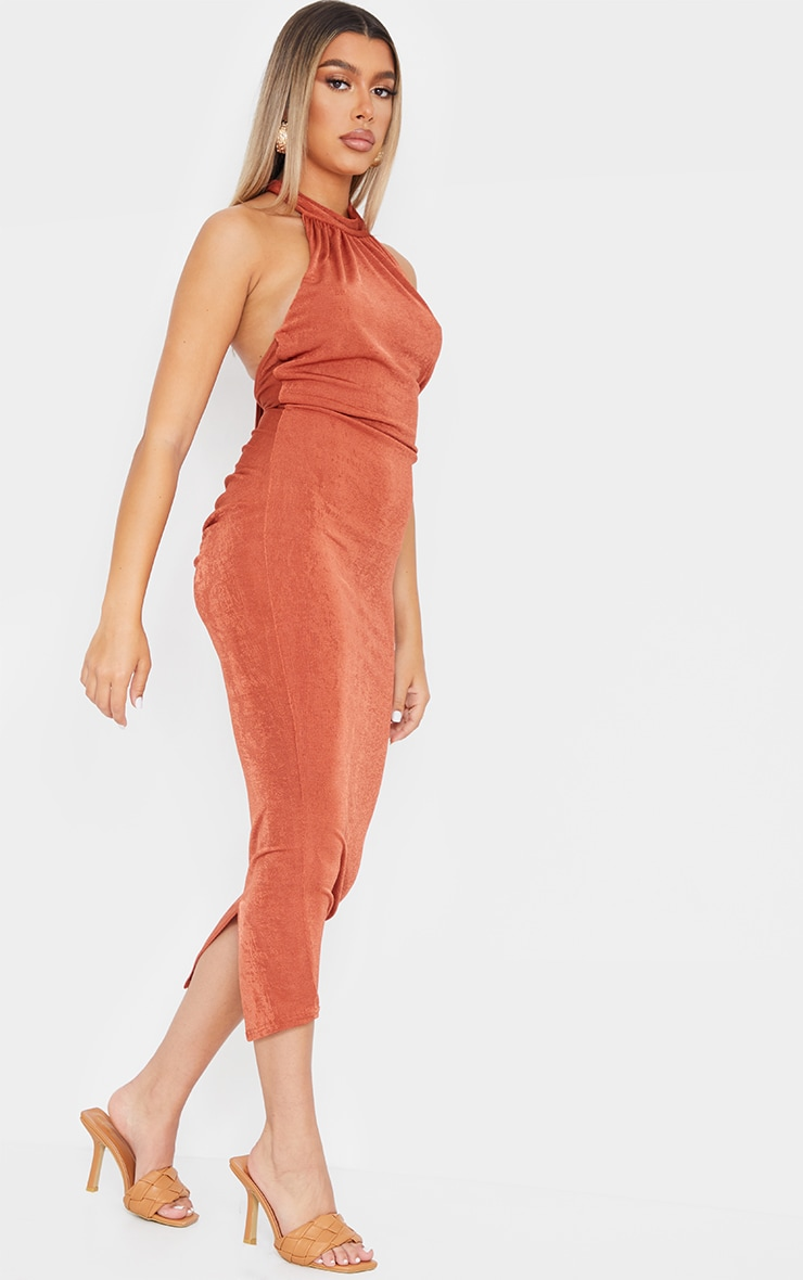Rust Halterneck Ruched Bum Textured Slinky Maxi Dress 3