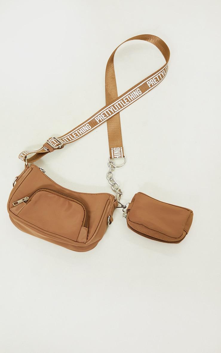 PRETTYLITTLETHING Mocha Multi Pocket Chain Cross Body Bag 2