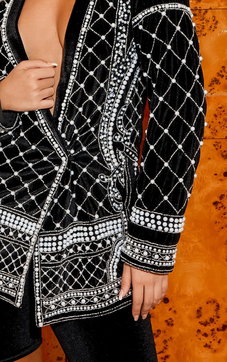 Premium Black Velvet Embellished Beaded Oversized Blazer 6