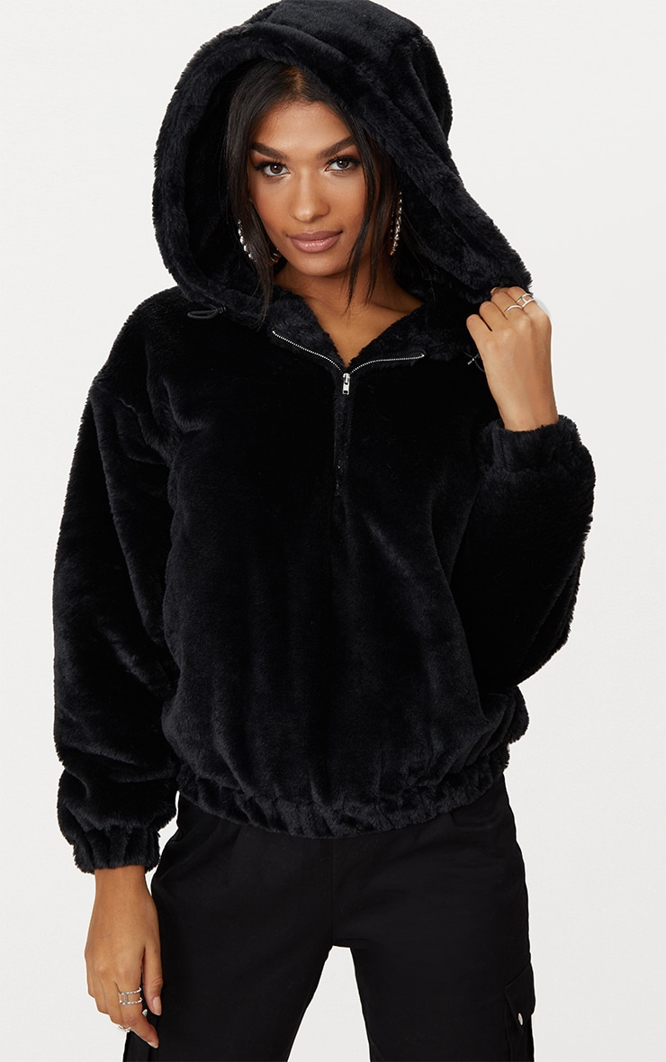 cb615dff5cc Black Faux Fur Hooded Bomber | PrettyLittleThing USA