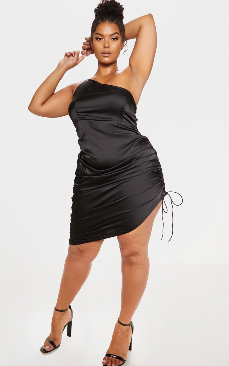 Black Satin Lace Up Side One Shoulder Midi Dress 5
