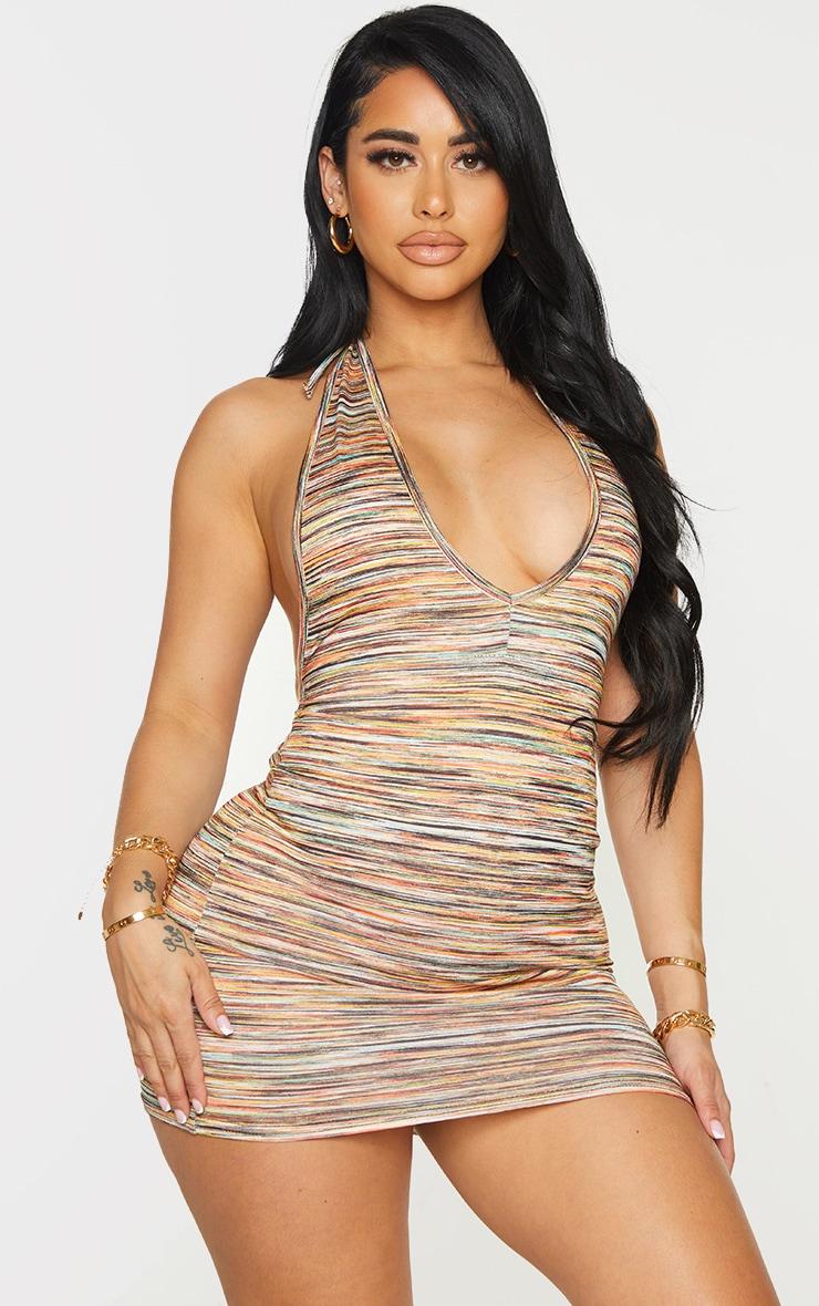 Shape Multi Stripe Jersey Halterneck Bodycon Dress 1