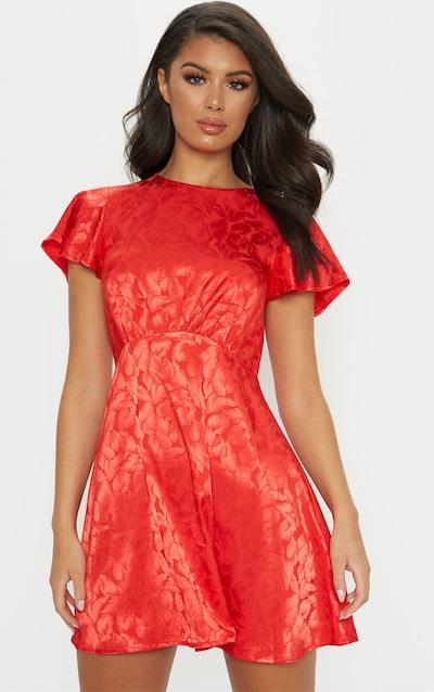 Red Floral Jacquard Ruched Top Skater Dress 260654098