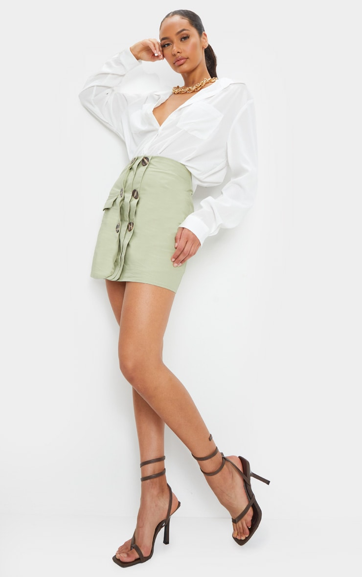Sage Green Button Detail Cargo Mini Skirt 4