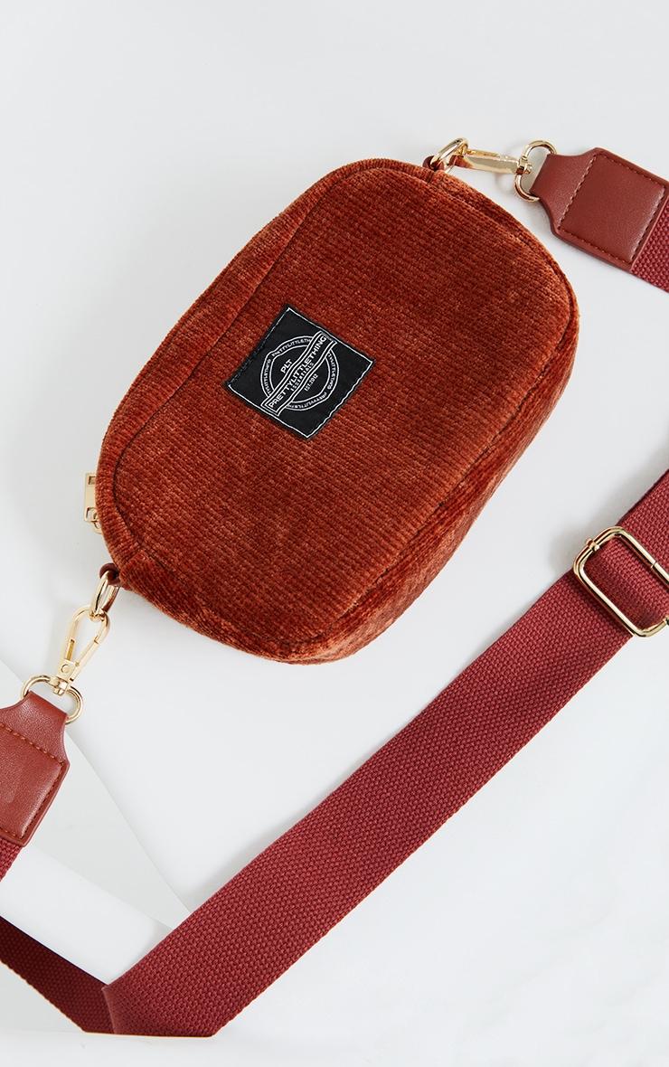 PRETTYLITTLETHING Burgundy Cord Mini Cross Body Bag 2