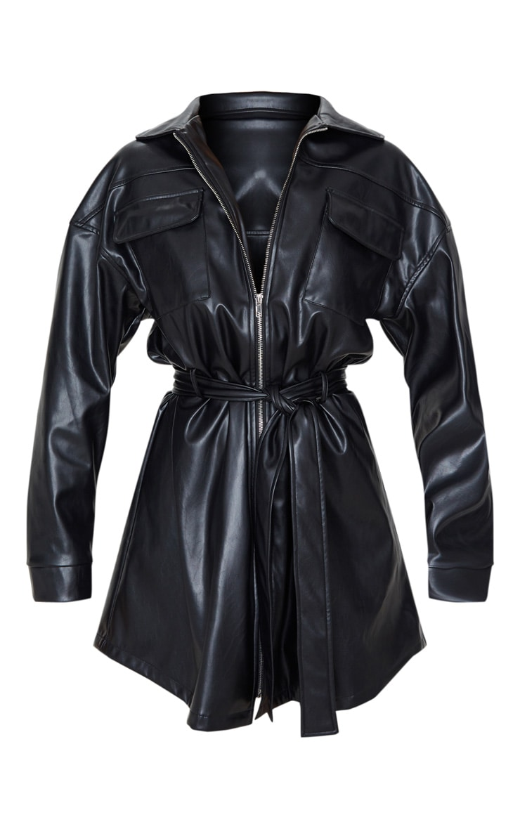Black Faux Leather Zip Front Belted Long Sleeve Shirt Dress 3