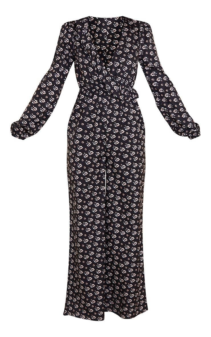 Black Ditsy Floral Frill Wrap Jumpsuit 5