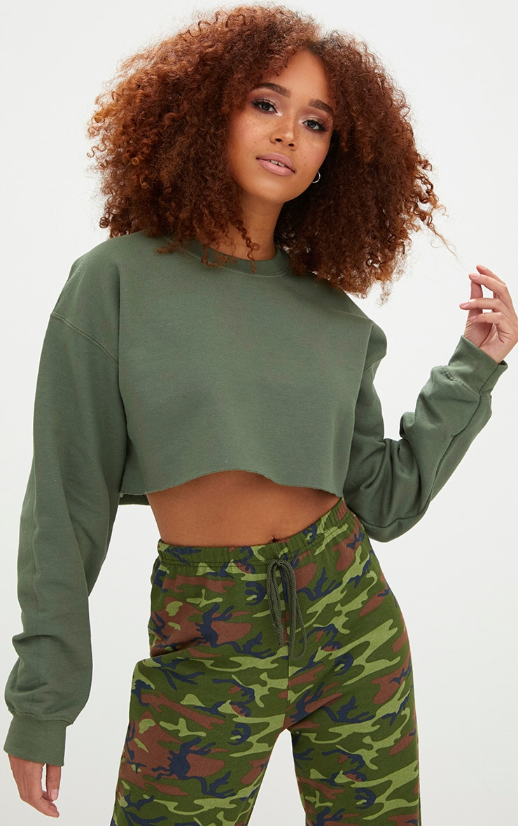 Khaki Ultimate Cropped Sweater 1
