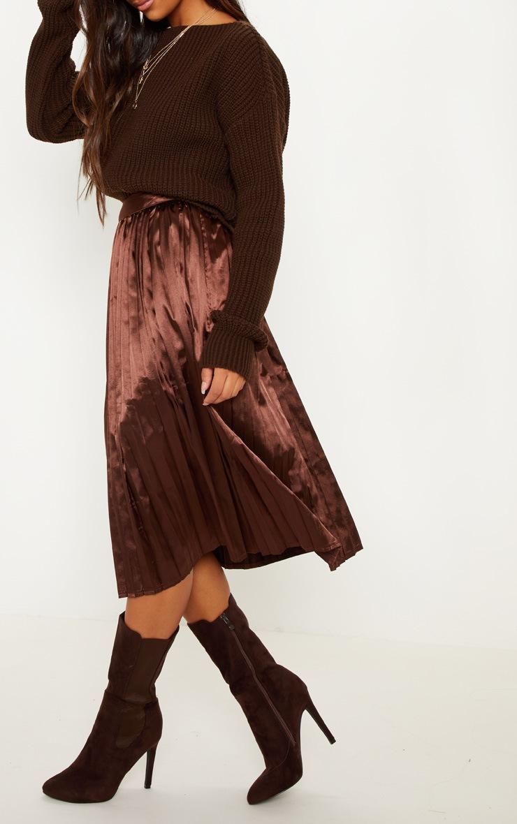 Chocolate Satin Pleated Midi Skirt 5