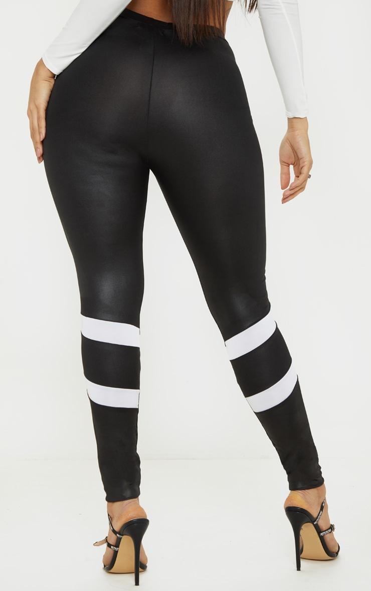 Black Wet Look Contrast Panel Legging 4
