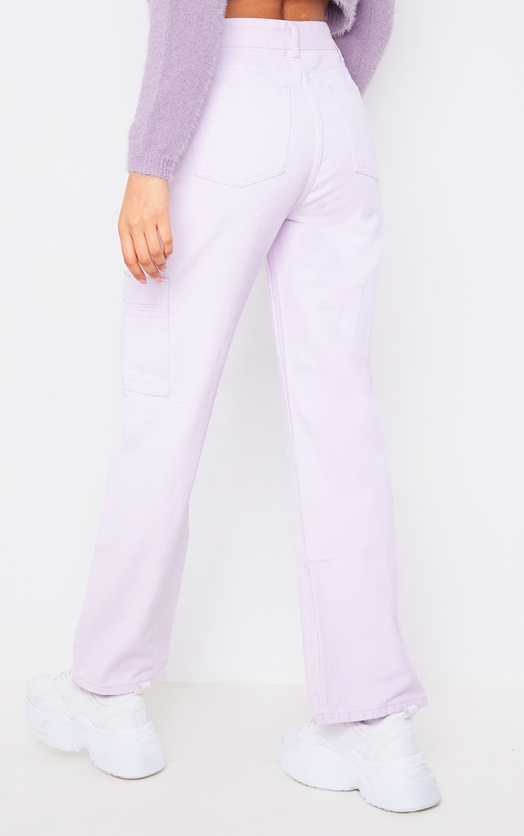 Lilac Wide Leg Ripped Cargo Jeans 3