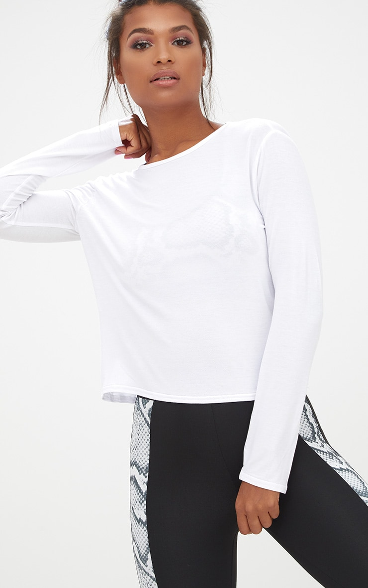White Jersey Long Sleeve Open Back Detail T Shirt 2