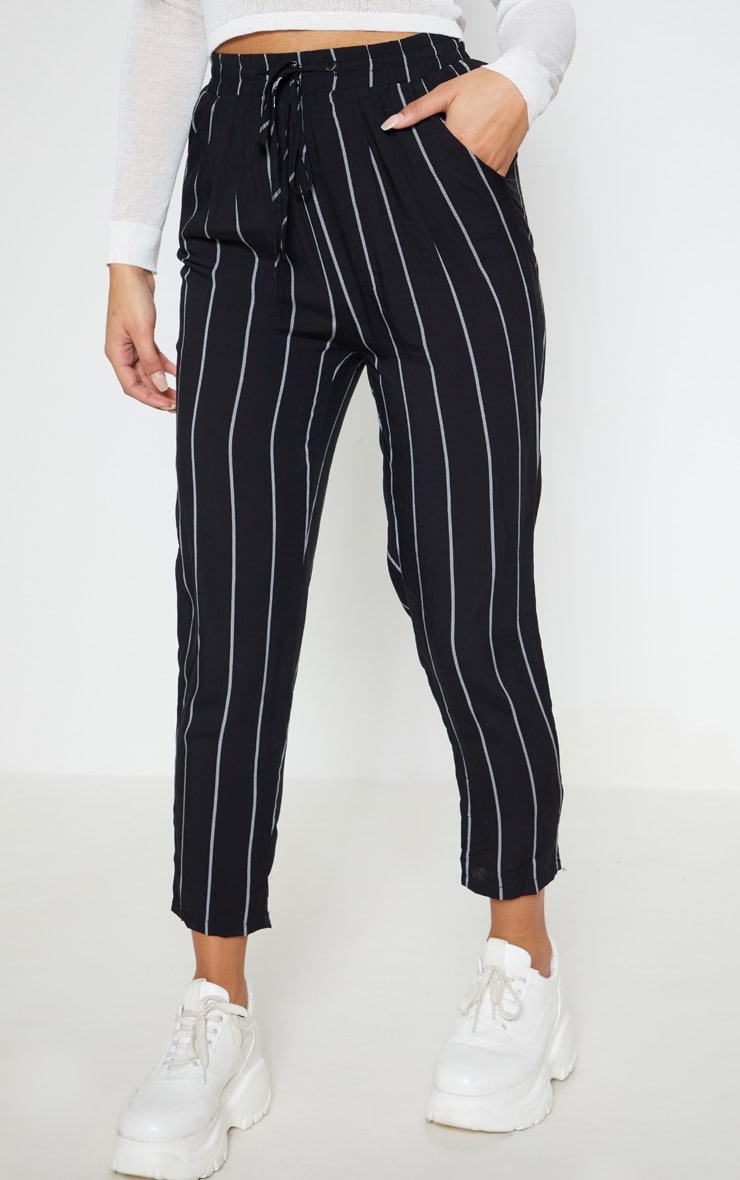 Diya Black Pin Stripe Casual Trousers 2