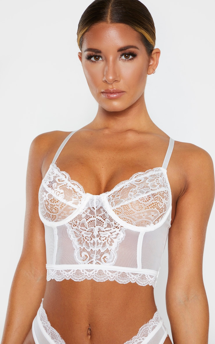 White Lace Underwired Longline Bra 5