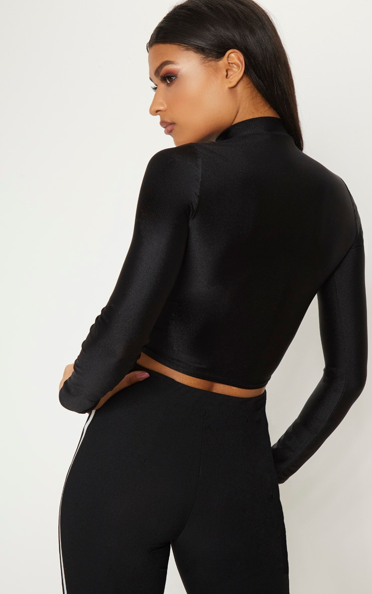 Black Disco Zip Front High Neck Long Sleeve Crop Top   2
