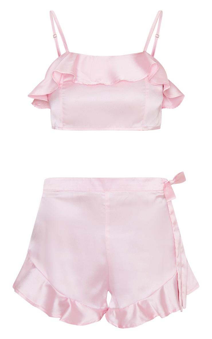Pink Satin Frill Top & Shorts PJ Set 5