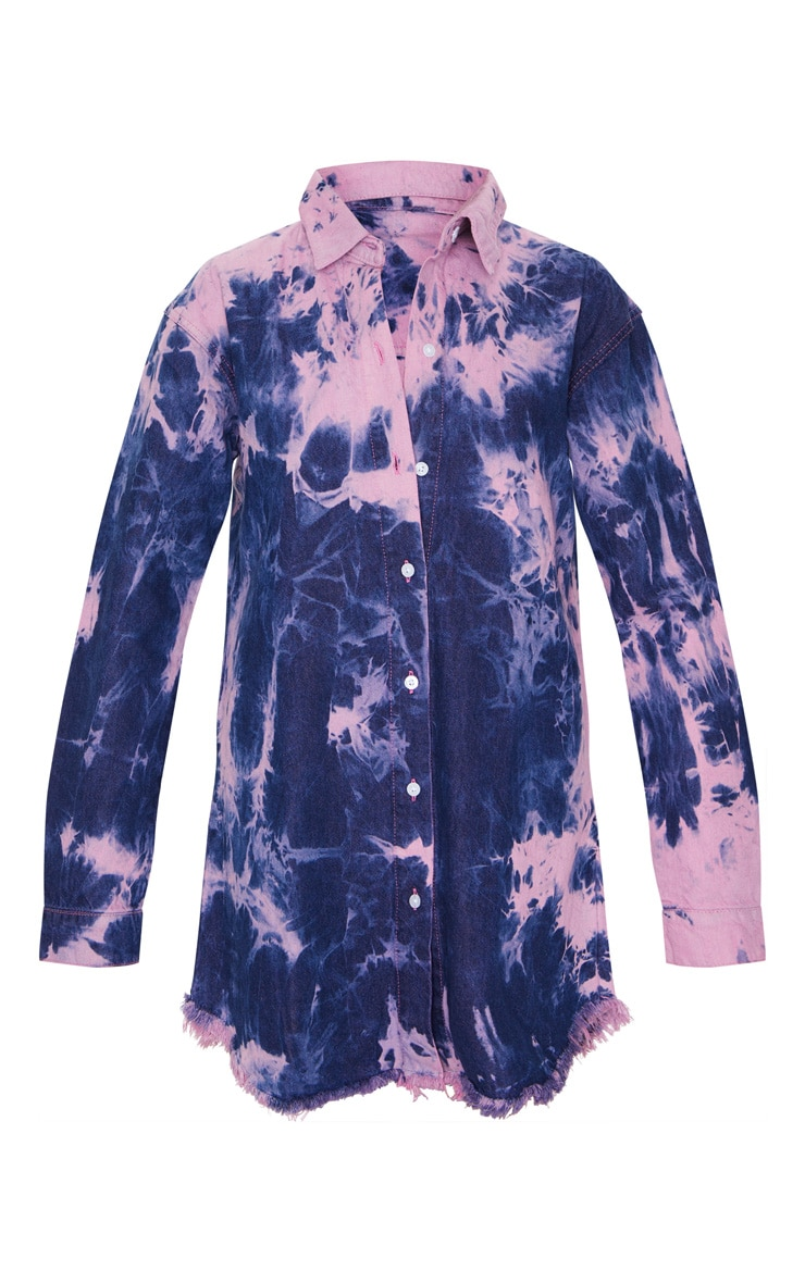 Multi Tie Dye Denim Oversized Shirt Dress 5