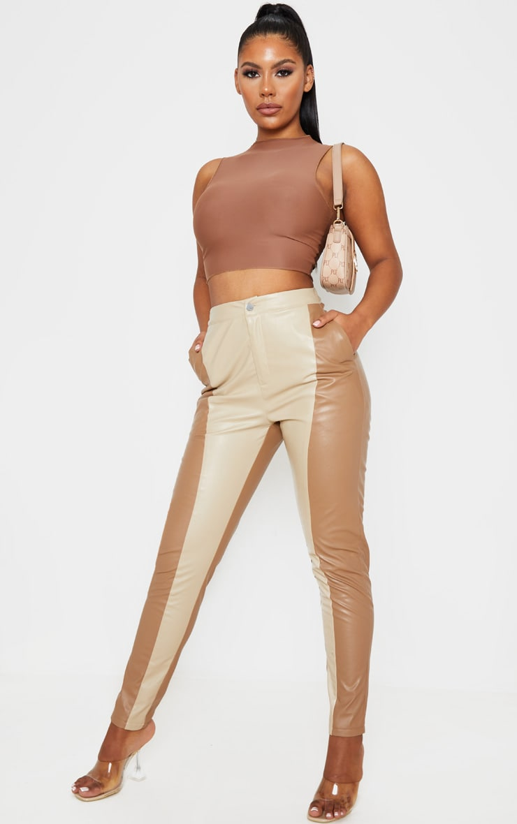 Stone Faux Leather Contrast Panel Pants