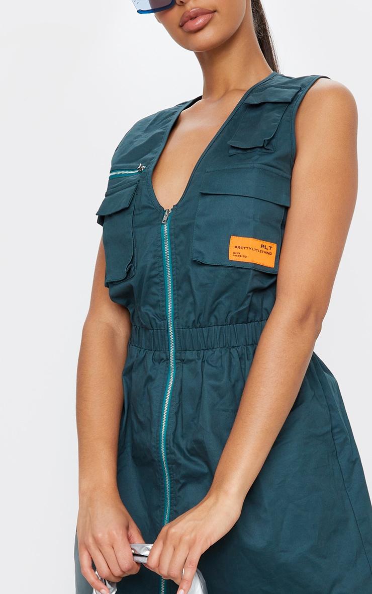 Emerald Green Pocket Zip Detail Sleeveless Utility Dress 4