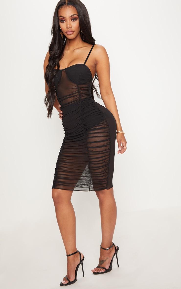 Shape Black Ruched Strappy Mesh Longline Midi Dress 4