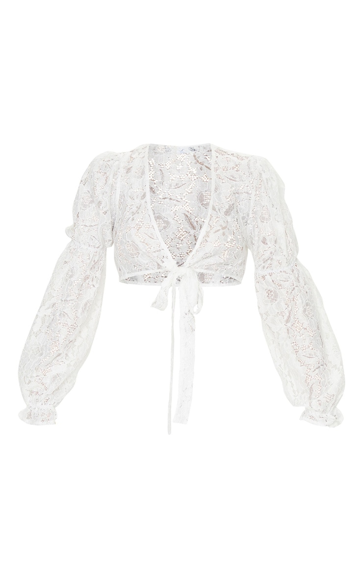 White Lace Tie Front Long Sleeve Crop Blouse 5