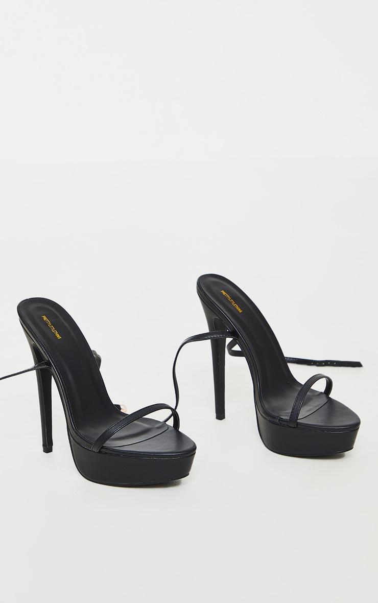 Black Wide Fit PU Platform Strappy High Heels 3