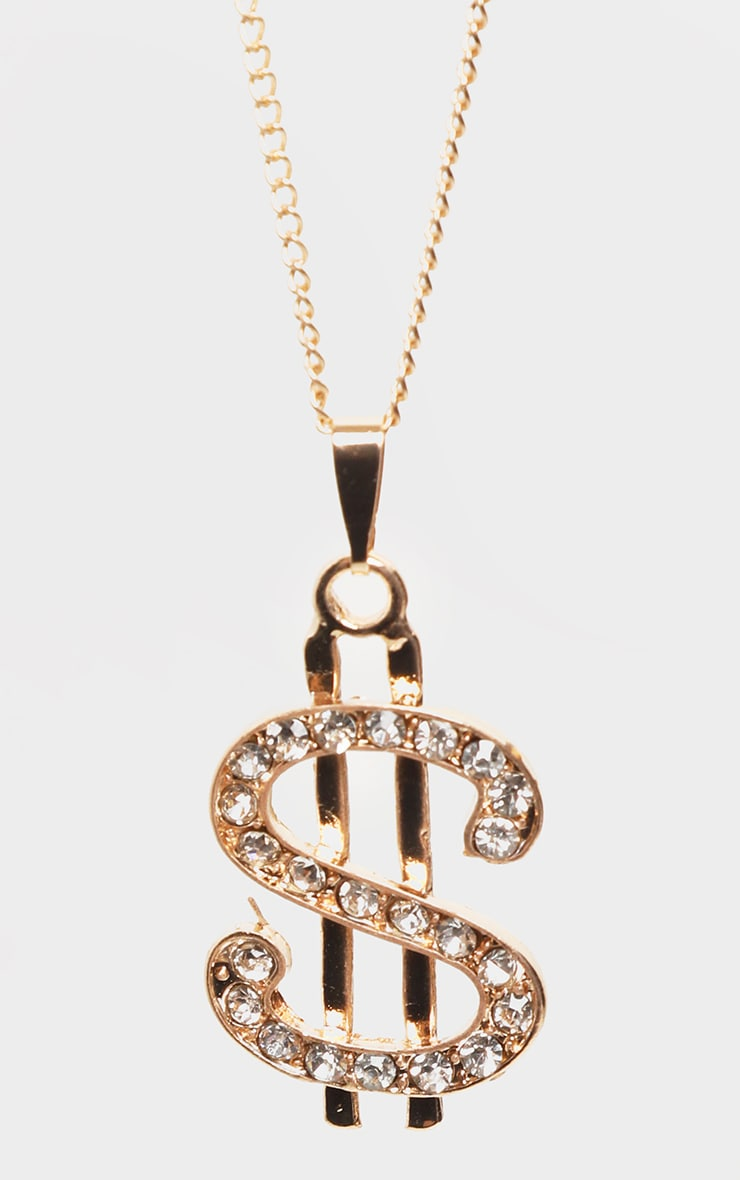 Gold Diamante Dollar Sign Layering Necklace 4
