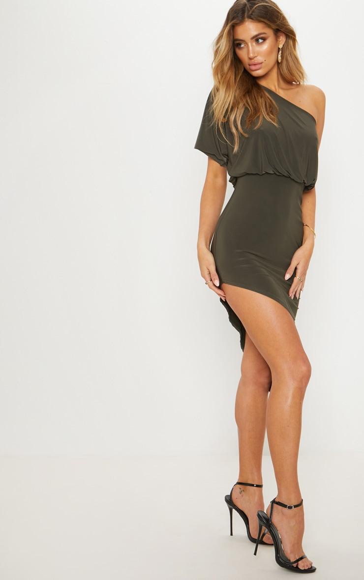 Khaki Drape One Shoulder Asymmetric Midi Dress 4