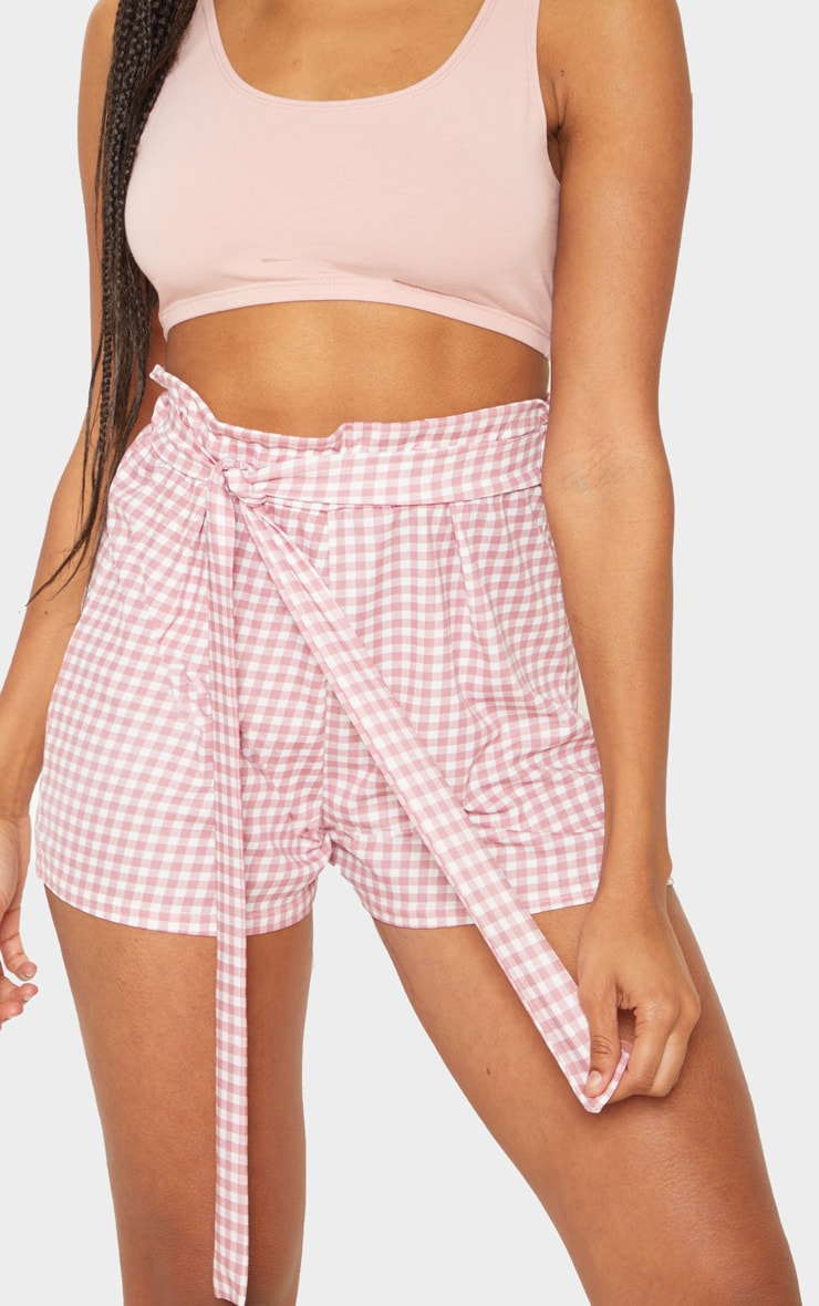 Dusty Pink Gingham Print Ruched Tie Waist Short 6