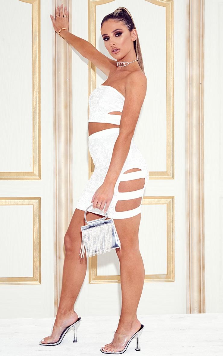 Ensemble bandeau découpé & mini-jupe en velours blanc 4