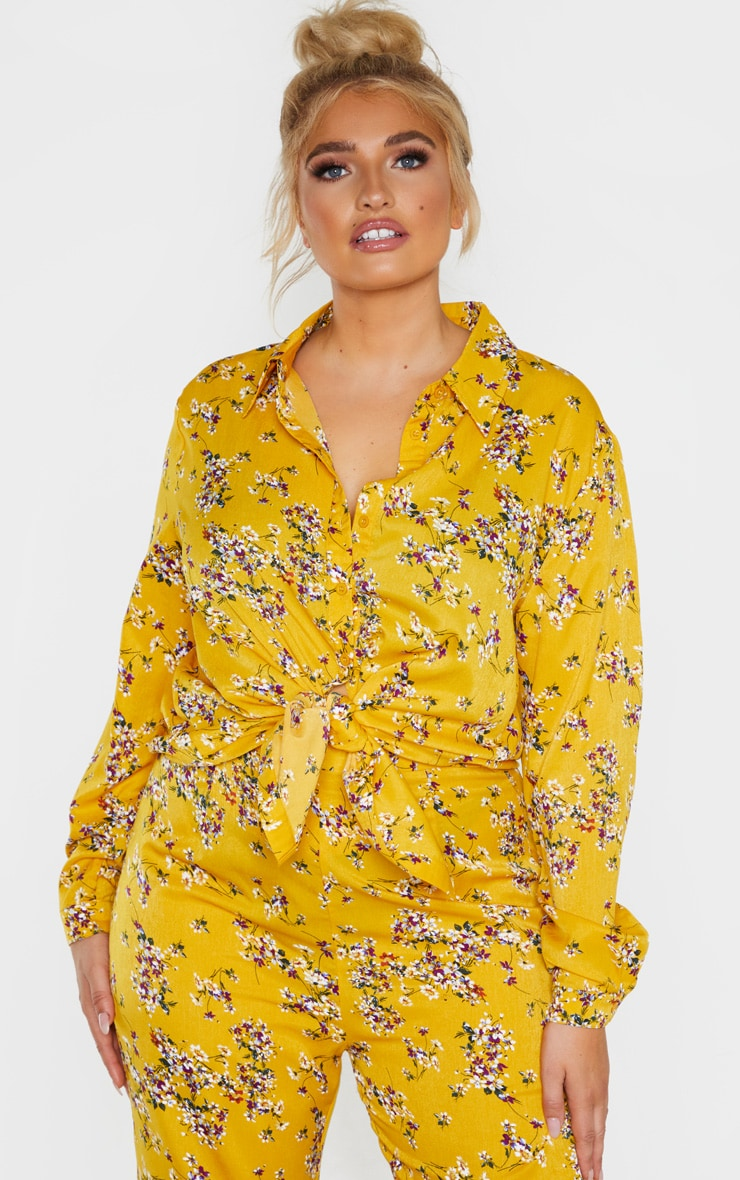 Plus Yellow Floral Oversized Shirt  1