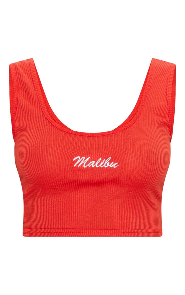 Red Malibu Slogan Rib Crop Vest 3