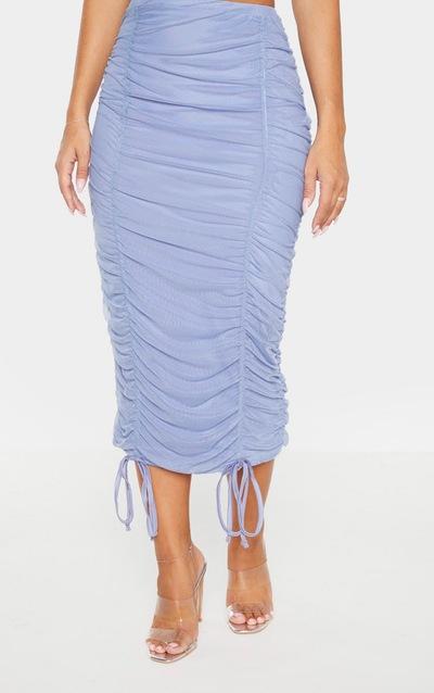 Dusty Blue Mesh Ruched Detail Midi Skirt