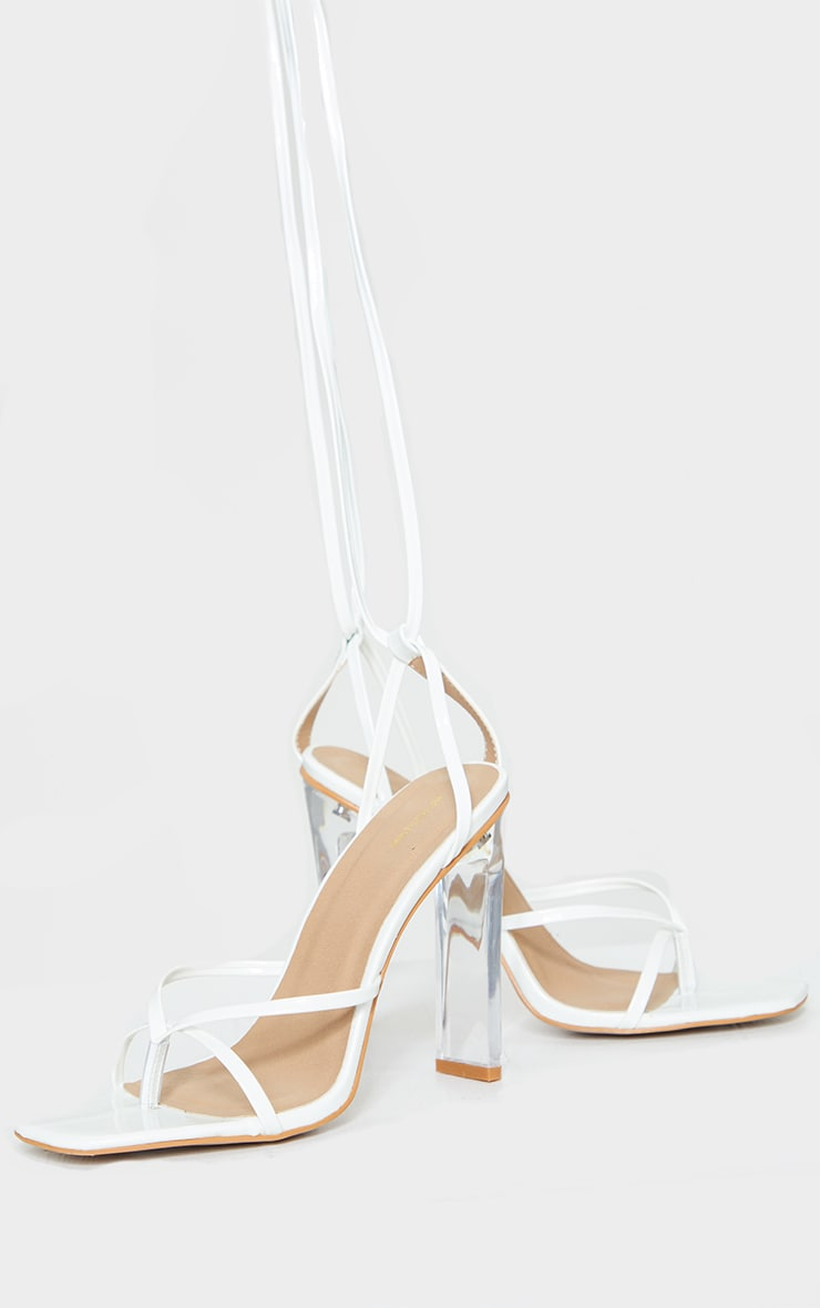 White Clear Heel Lace Up Heels 3