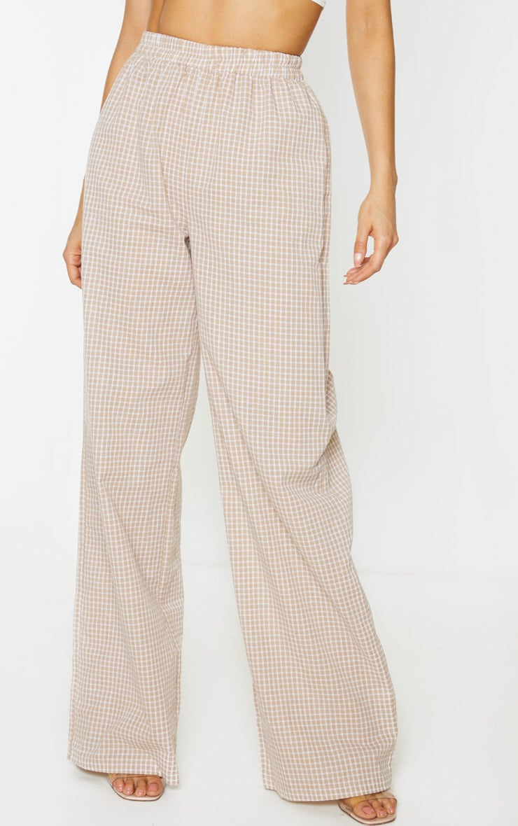 Tall Stone Checked Straight Leg Elasticated Pants 3