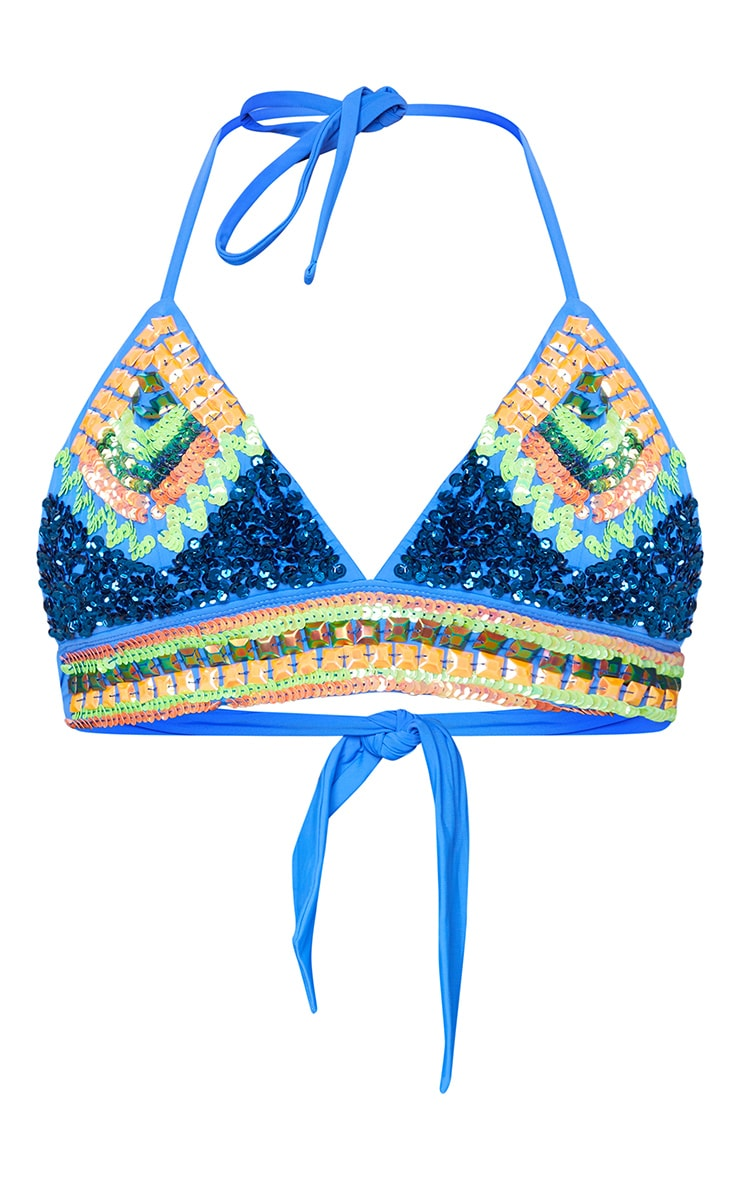 Blue Sequin Triangle Bikini Top 5