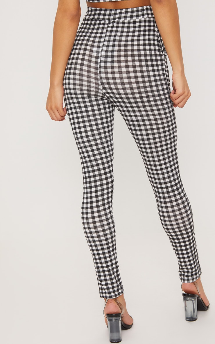 Black Gingham Skinny Pants 4