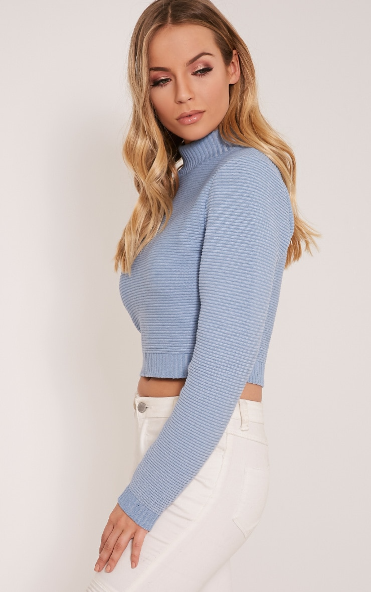 Dusty Blue Ribbed Crop Knitted Jumper  4