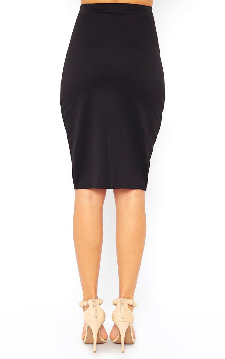 Melrose Black Scuba Midi Skirt 4