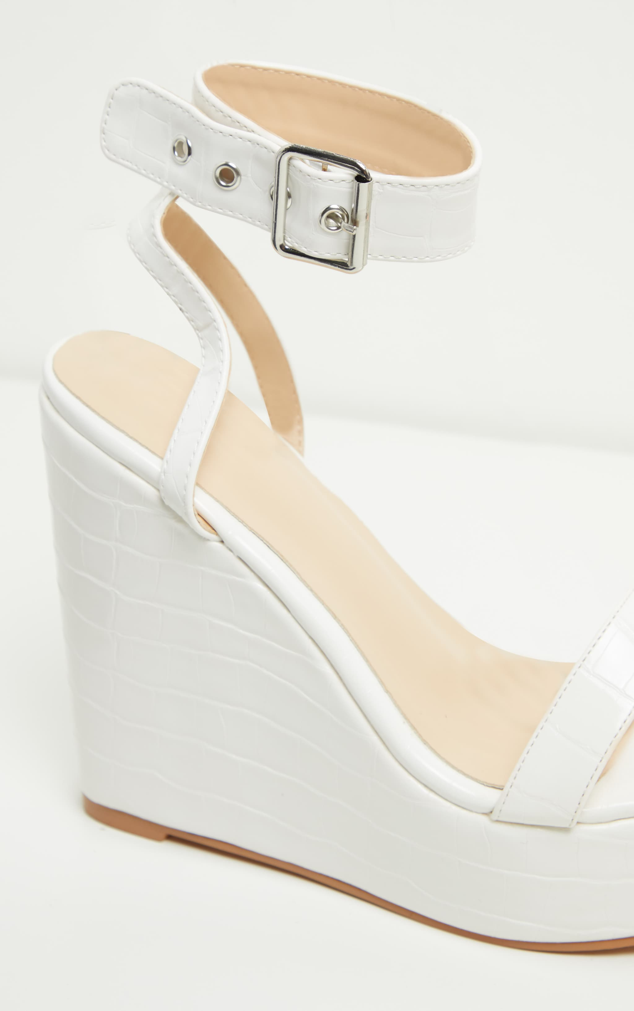 White Ankle Strap High Wedges 5