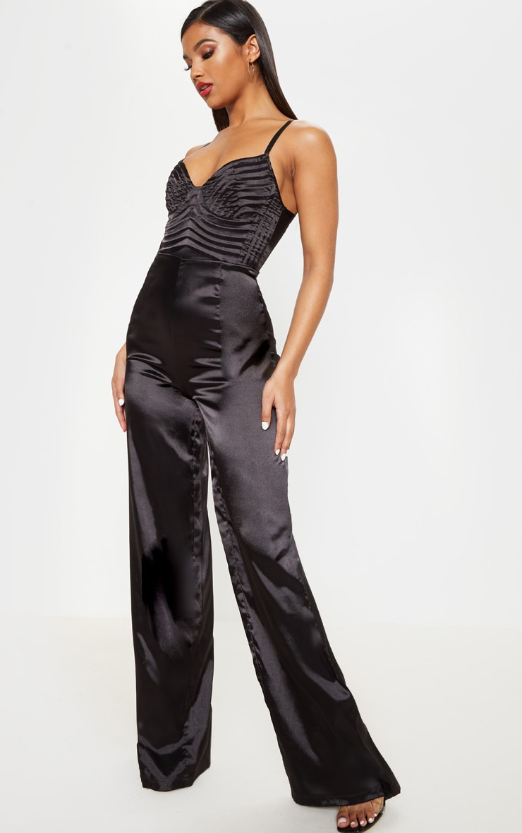 Black Satin Quilted Bust Wide Leg Jumpsuit 4