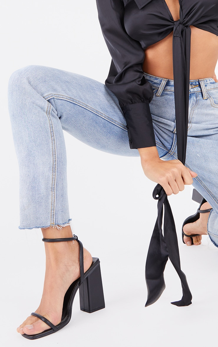 Black Barely There Block Heeled Sandals 2