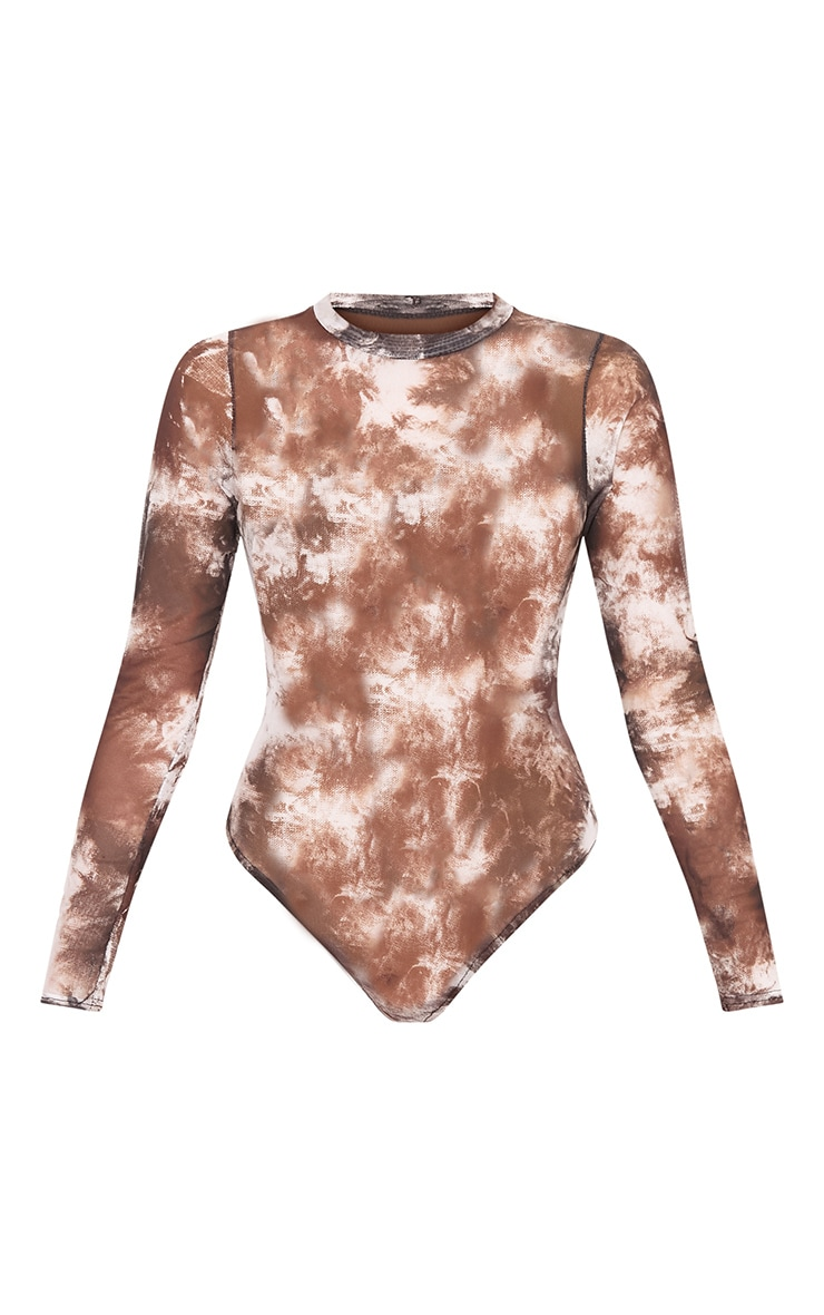 Aurban Black Tie Dye Mesh Longsleeve Thong Bodysuit 3